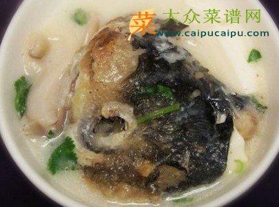 大众菜谱 包汤羹粥   材料:千岛湖鱼头,盒装嫩豆腐1盒,菌菇适量