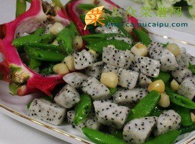 甜豆火龙果炒鲜贝